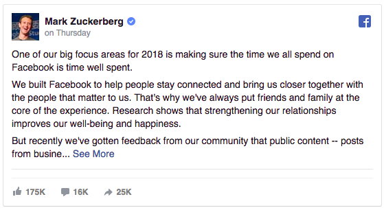 Facebook Changes Announcement